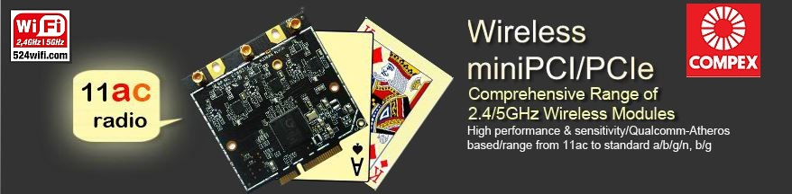 QCA Atheros WiFi radio cards, for 2,4GHz and 5GHz Wireless