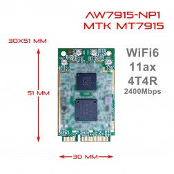 WIFI 6  Mediatek MT7915 4T4R Dual Band Selectable miniPCIe module IEEE 802.11ax 2.4G / 5GHz AW7915-NP1 DBDC 524wifi.com