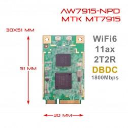 WiFi 6 Mediatek MT7915 2T2R Dual Band Concurrent DBDC miniPCIe module IEEE 802.11ax 2.4G / 5GHz AW7915-NPD 524wifi.com