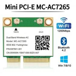 Intel MC-AC7265 PCI-E 1200Mbps Wireless Mini WiFi + Bluetooth 4 Network Card 802.11ac