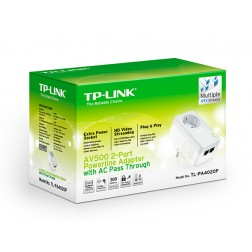 TP-LINK TL-PA4010P kit AV500 2*PowerLine Ethenrnet Adapters with AC Pass Through,500Mb/s