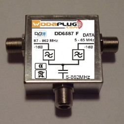 Wodaplug data passing thru Diplex filter 6587 3*F connectors, data 2-65MHz / TV (DVBT)