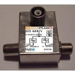 Wodaplug data passing thru Diplex filter 6587i 1*F+2*IEC connectors, data 2-65MHz / TV (DVBT)
